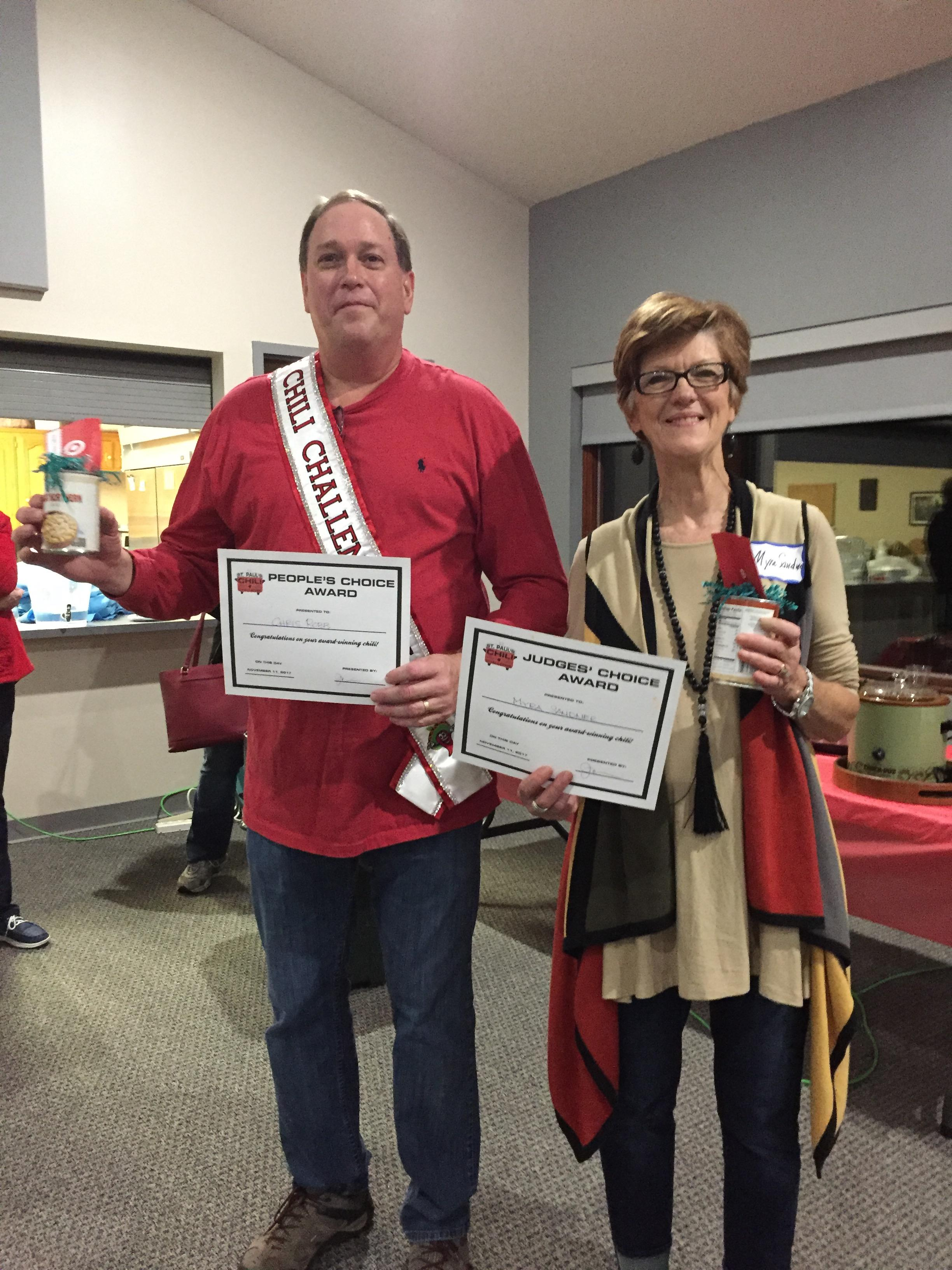 Chris Robb: Winner of a Judge's Favorite award AND People's Choice award. Myra Sandner: Winner of Judge's Favorite award.